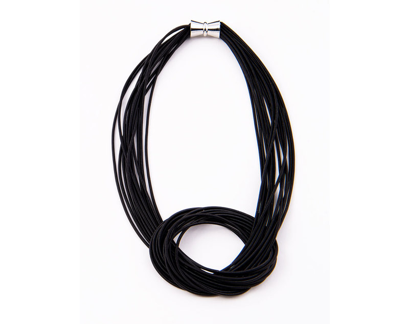 Black large knot piano wire necklace