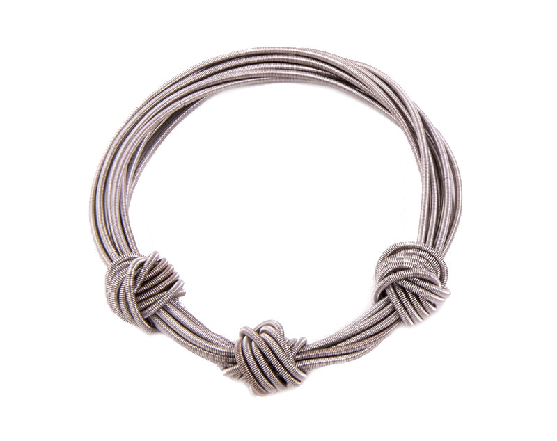 Knotted piano wire bracelet ko