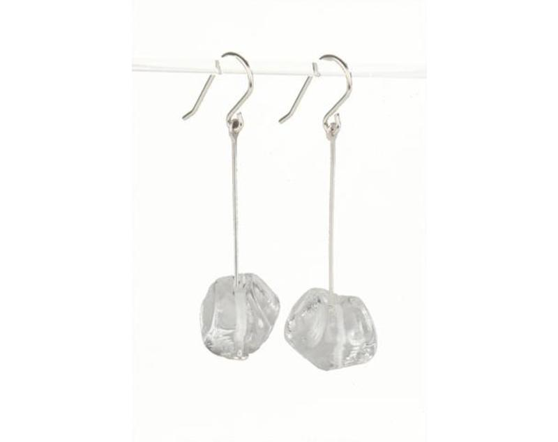 Crystal clear glass nugget earrings  jz107cl large